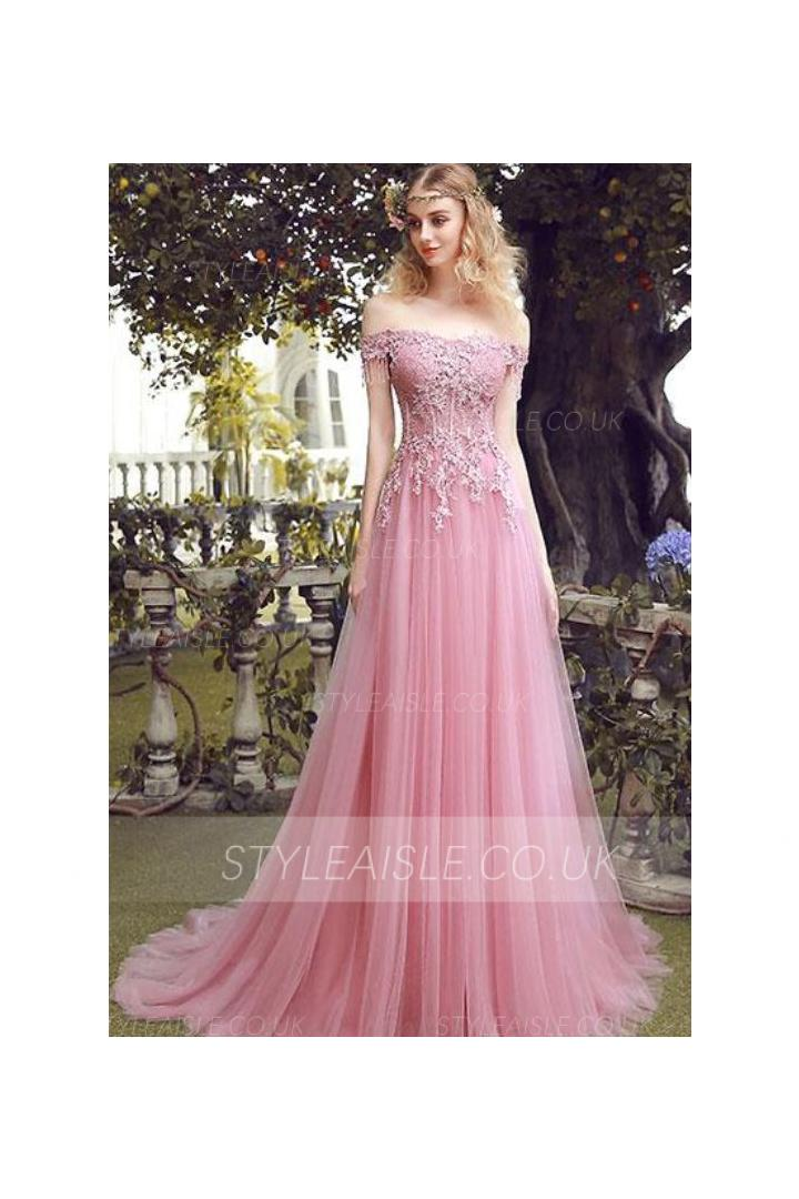 Off Shoulder Lace Embroidery Long A-line Pink Tulle Prom Dress Lace Up