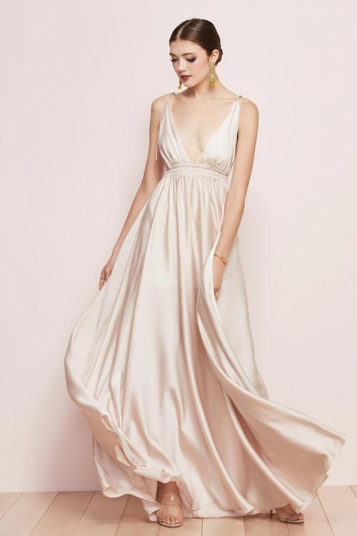 A-line Deep V-neck Sleeveless Ruching Empire Waist Floor-length Long Charmeuse Prom Dresses