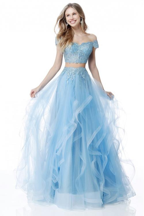 Modern Two Piece Sequin Lace Off Shoulder Long Sky Blue Tulle Prom Dress