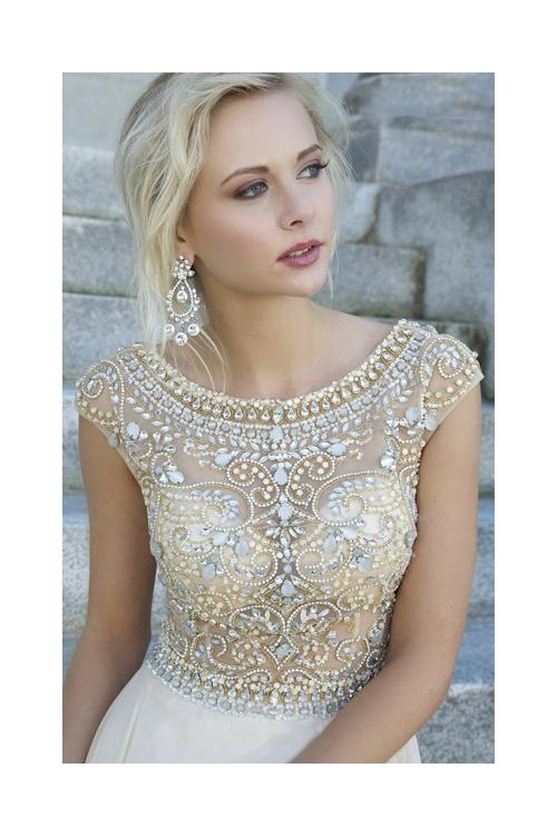 Scoop Neck Cap Sleeve Sparkle Beaded Long Chiffon A-line Prom Dress