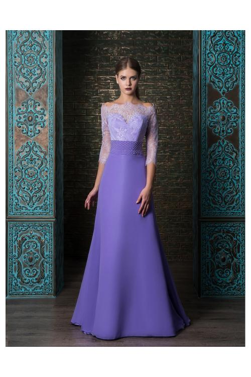 Vintage Lace Off Shoulder Slim A-line Long Chiffon Prom Evening Dress