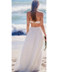 Boho Strapless Lace Beach Wedding Dress