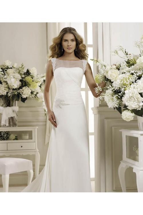 Simple Sheath/Column Bateau Straps Beading Sweep/Brush Train Chiffon Wedding Dresses