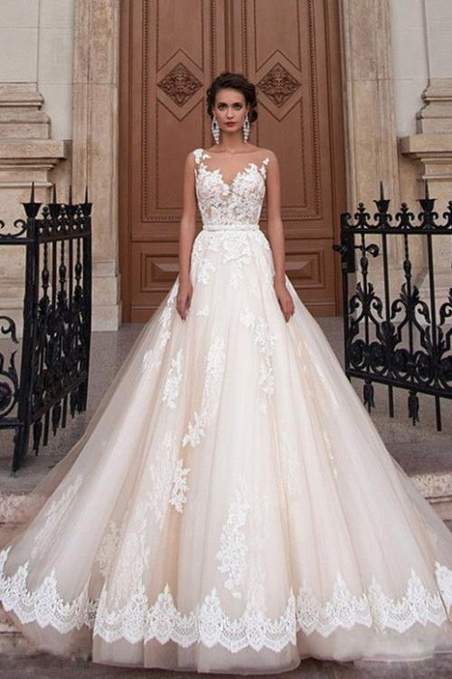 Vintage Inspired Sleeveless Illusion Neck Lace overlay Blush Tulle Wedding Dress with Sash