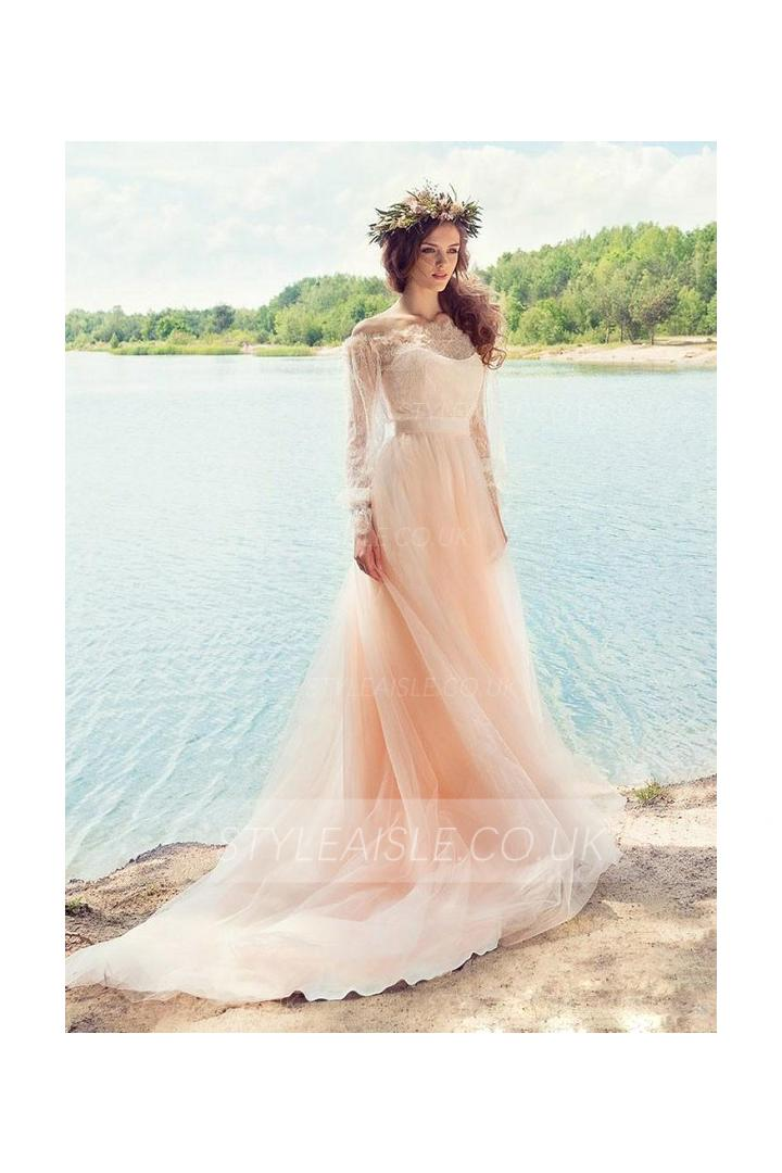 Vintage Long Sleeve Lace Bodice Blush Tulle Beach Wedding Dress