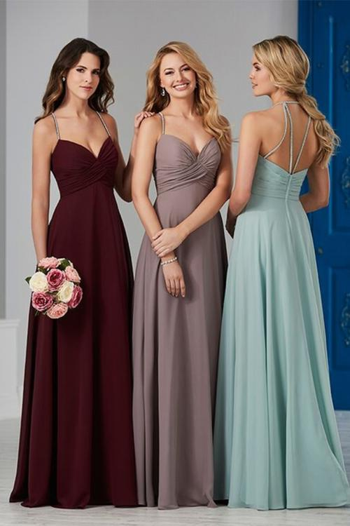 A-line Beading Spaghetti Straps Sleeveless Empire Waist Ruching Floor-length Long Chiffon Bridesmaid Dress
