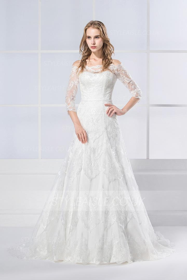 A Line Off The Shoulder Half Sleeve Lace Sweep Brush Train Wedding Dresses