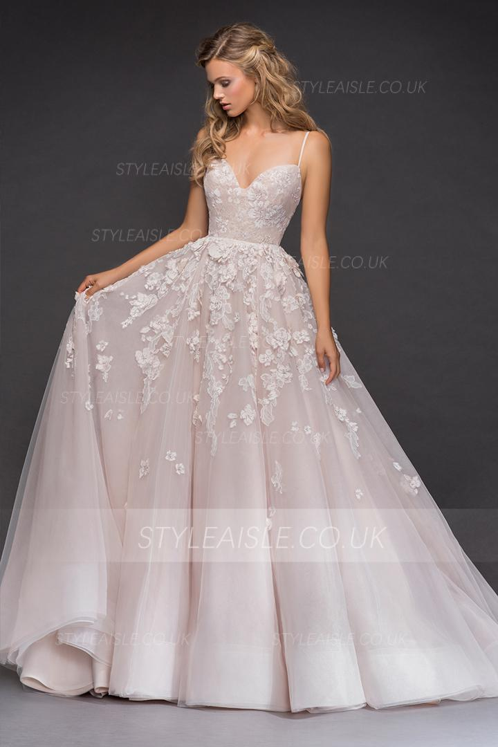 Elegant Cheap A-line Spaghetti Straps Sweetheart Sleeveless Lace Appliques Court Train Long Tulle Wedding Dresses