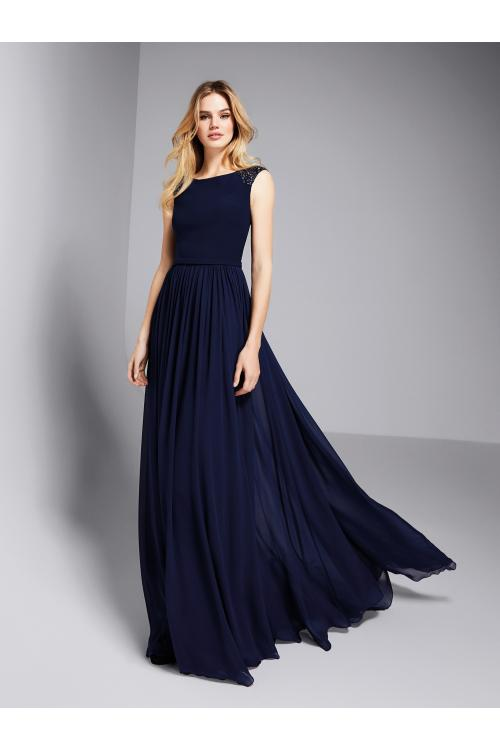 Navy Blue Sequins Bateau Neck Long A-line Prom Dress Cap Sleeves