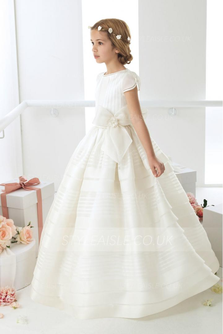 Beautiful Short Sleeved Ball Gown Girls Long First Communion Dress Ivory with Dramatic Bow
