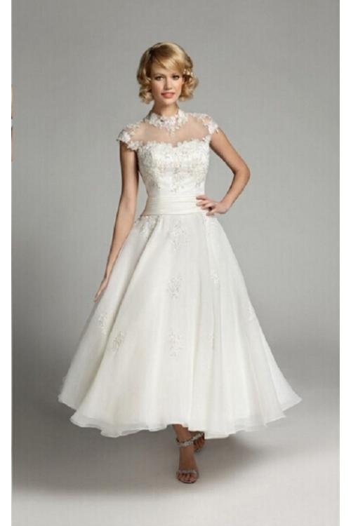 Tea Length Cap Sleeved Lace Detailling Short Organza Wedding Dress