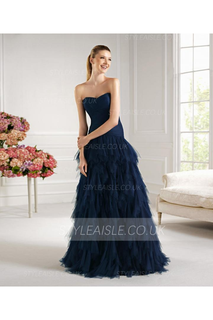 Charming A-line Sweetheart Ruching Floor-length Tulle Cocktail Dresses