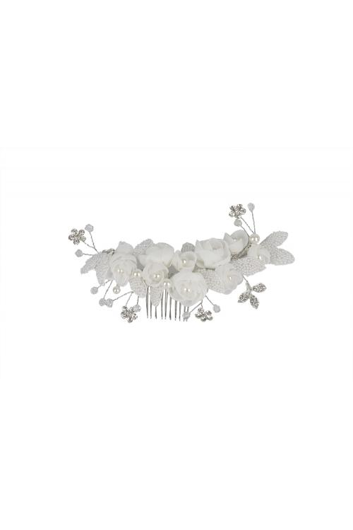 Exquisite Ivory Wedding Hair Accessories With Pearl Flowers 18CM