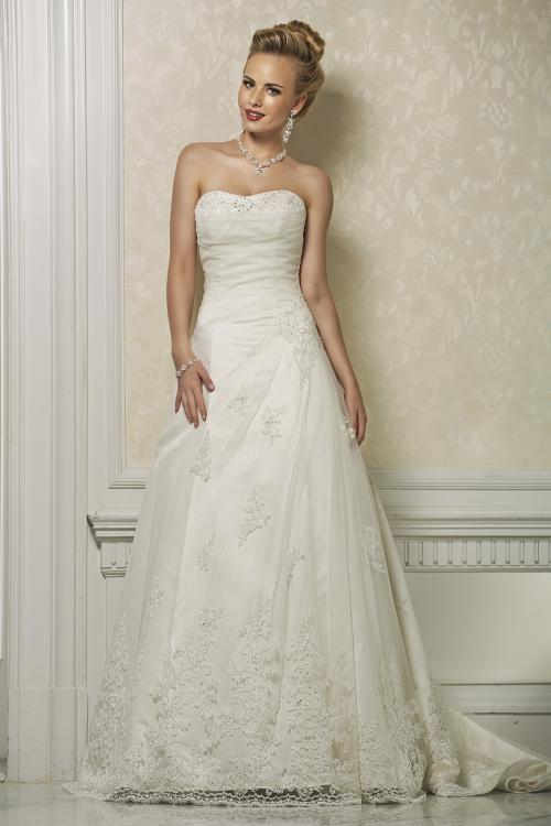 Charming A-line Strapless Beading&Sequins Lace Sweep/Brush Train Wedding Dresses