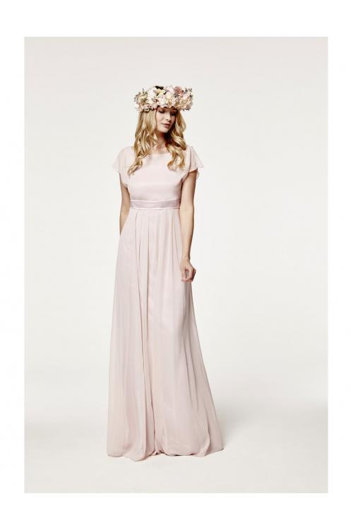 A-line Bateau Sleeveless Sashes/Ribbons Long Chiffon Bridesmaid Dress