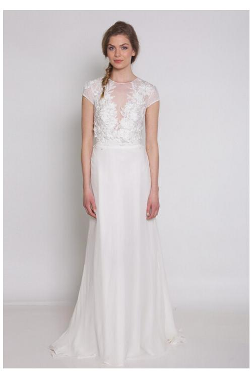 Modern Cap Sleeved Illusion Neck Lace Appliqued A-line Chiffon Wedding Dress