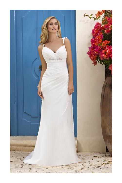Elegant A-line Spaghetti Straps Beading Cascading Ruffles Sweep/Brush Train Chiffon Wedding Dresses