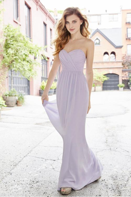 Flowy Long Chiffon Strapless Sweetheart Lilac Bridesmaid Dress