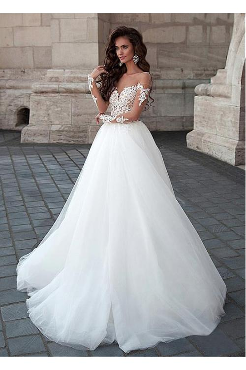 Delicate Illusion Neck Lace Bodice Long Ball Gown Tulle Wedding Dress