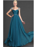Vinatage Beaded Straps Long Pleated A-line Chiffon Prom Dress