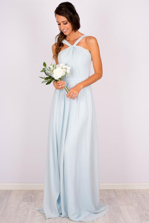 3f9b108a0a629 ... Sleeveless One Shoulder Halter Twisted Long Light Sky Blue Chiffon  Bridesmaid Dress