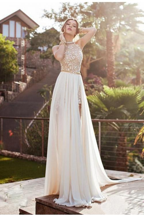 Beaded High Neck Lace Pattern Bodice Split Backless Chiffon Prom Dress