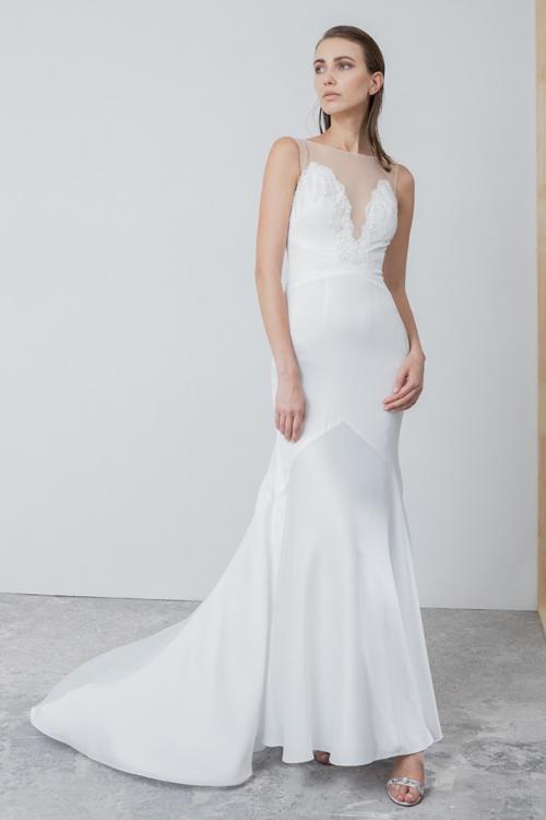 Simple Column Illusion Neck Sleeveless Beading Lace Court Train Long Satin Wedding Dresses