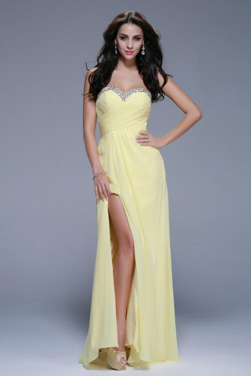 Strapless High Slit Beading A-line Daffodil Chiffon Prom Dress