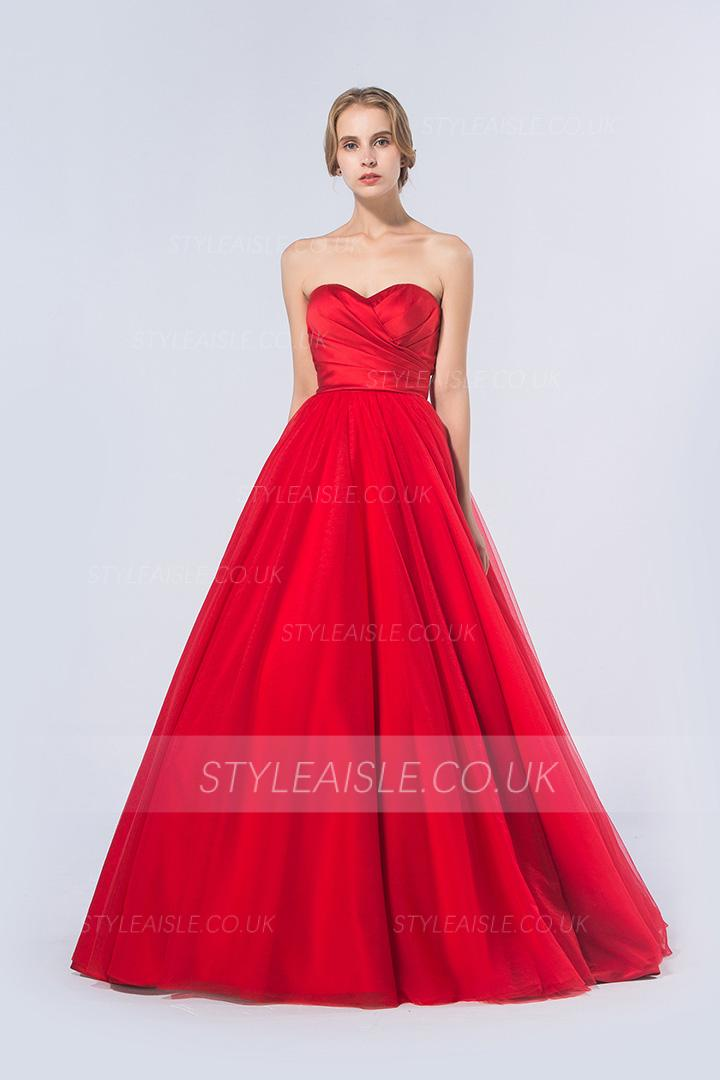 Simple A-line Strapless Pleated Long Red Satin Prom Dress