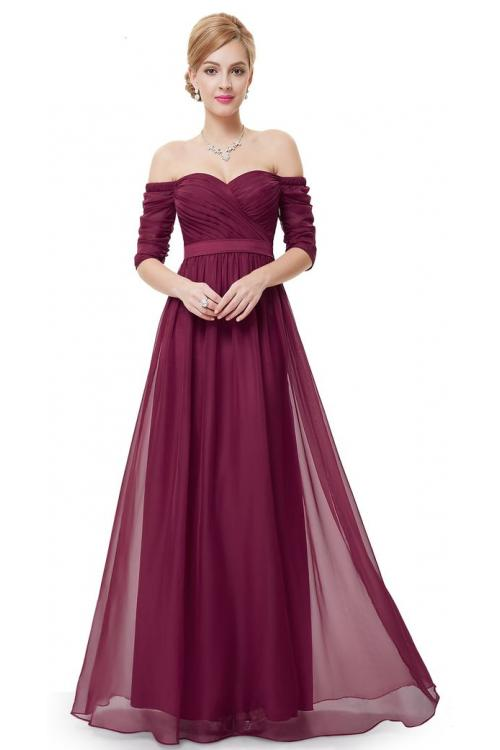 A-line Off-the-shoulder Half Sleeve Floor-length Long Chiffon Wedding Guest Dresses