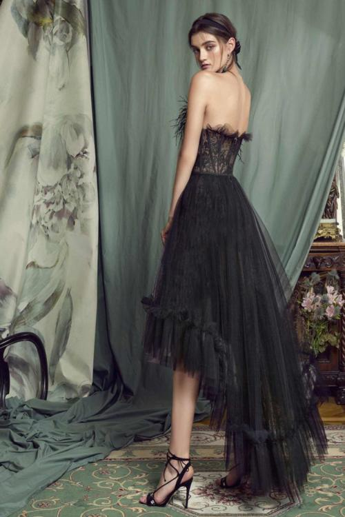 A-line Strapless Sleeveless Feathers Lace Asymmetrical/High Low Long Prom Dress