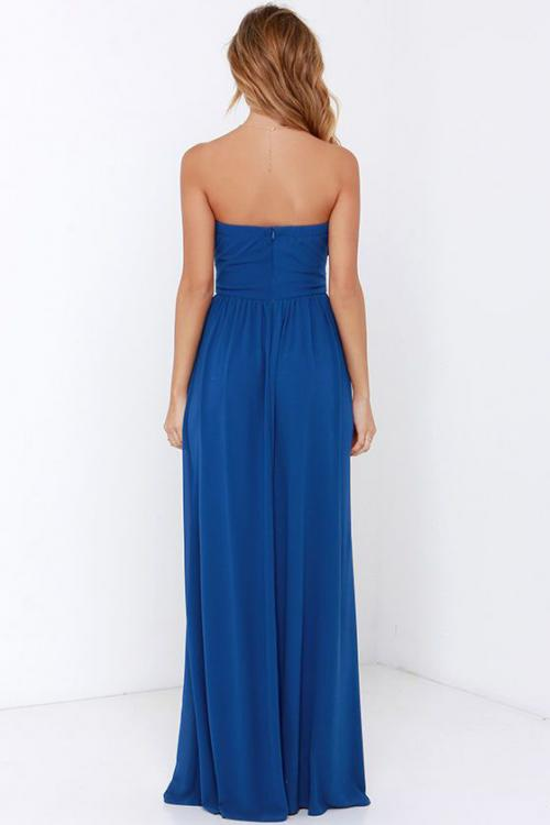 Long Strapless Sweetheart A-line Pleated Chiffon Bridesmaid Dress