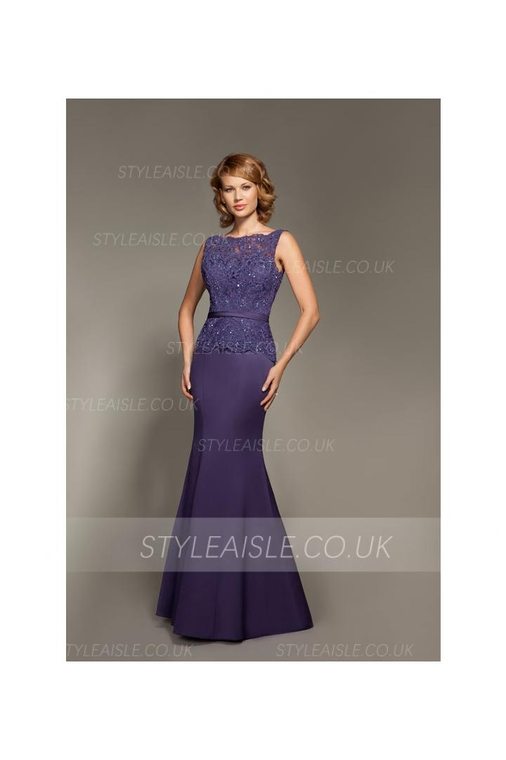 Bateau Neck Sequin Beaded Lace Bodice Sheath Long Satin Mother of the Bride Dress