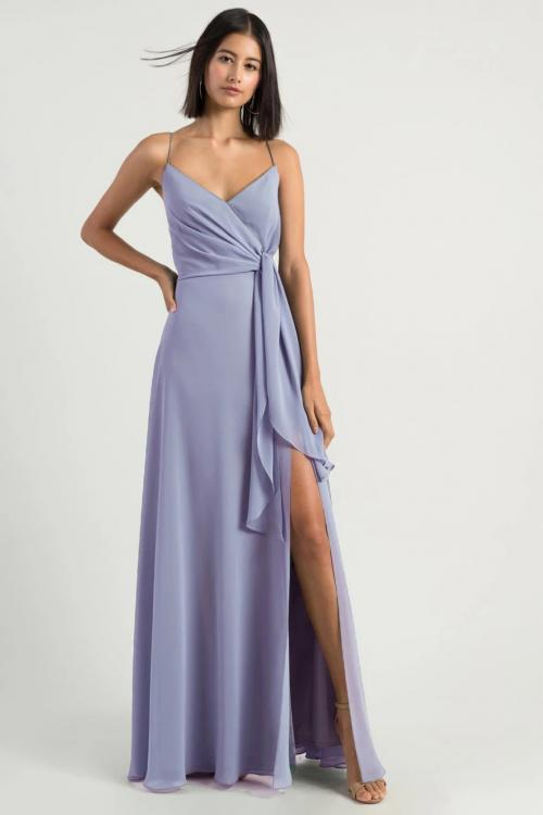 Simple Spaghetti Straps Sleeveless Empire Waist Split Floor-length Long Chiffon Bridesmaid Dresses
