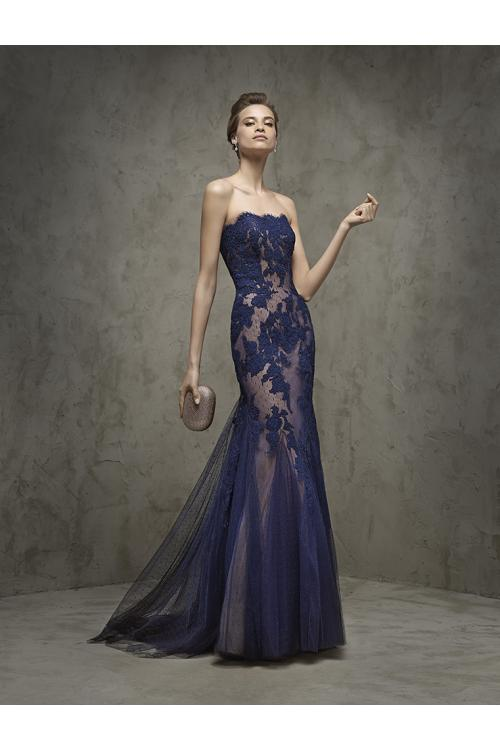 Strapless Scalloped appliques floor-length tulle evening dresses