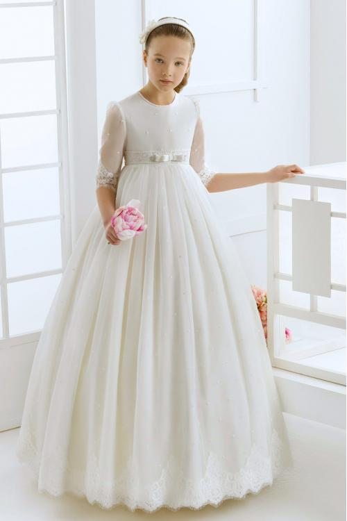 Half Sleeves Lace Detail Long Ball Gown Ivory Tulle Wedding Dress with Bow Ribbon