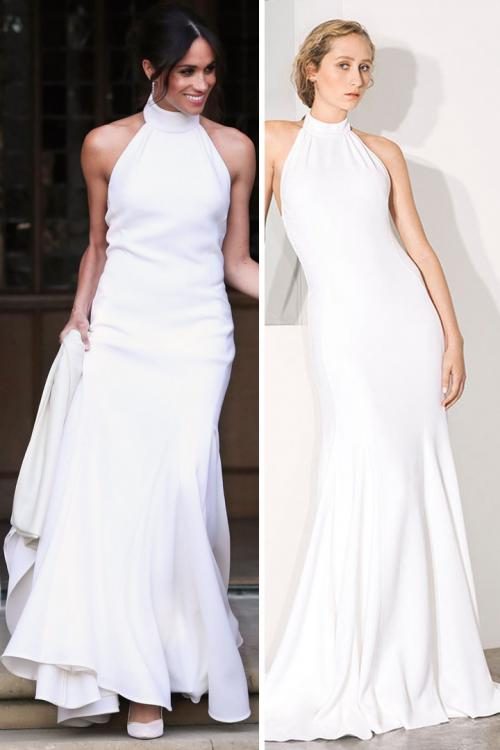 Trumpet/Mermaid Halter Neckline Sleeveless Sweep Train Long Satin Meghan Wedding Dresses