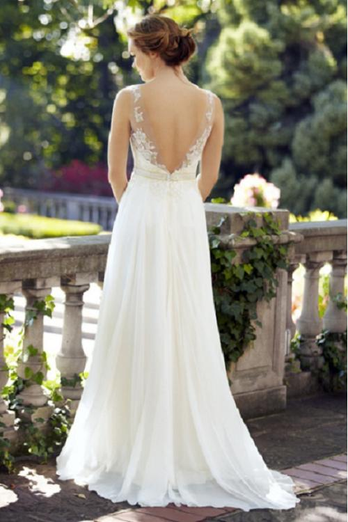 Illusion Neck Sleeveless Lace Bodice A-line Chiffon Wedding Dress with Ribbon
