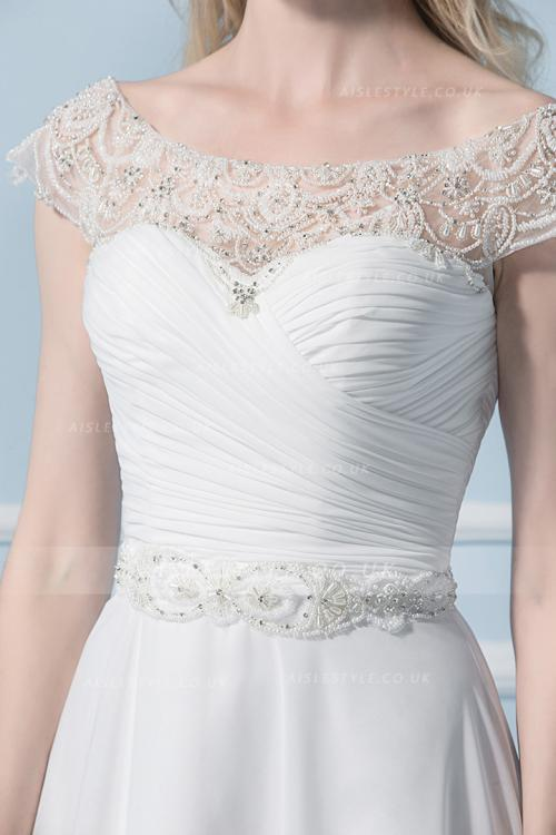 A-line Bateau Short Sleeve Beading Sweep/Brush Train Wedding Dresses