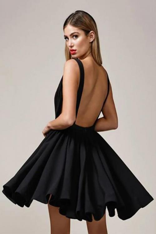 A-line Deep V-neck Sleeveless Mini Short Satin Cocktail Dress Sexy Little Black Dresses