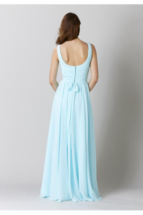 Shoulder Straps Pleated A-line Long Light Blue Chiffon Bridesmaid Dress
