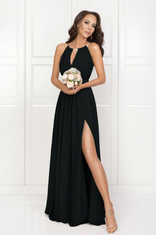 Glamorous Split Floor-length Long Chiffon Bridesmaid Dress Jewel Neckline Evening Dress