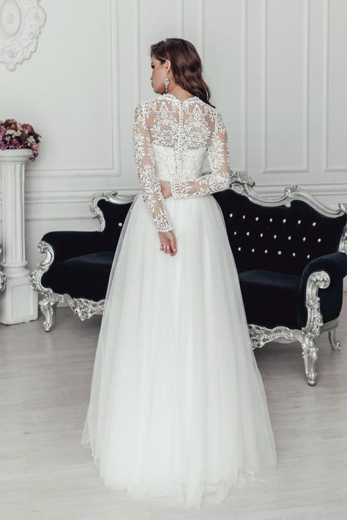 Classic V-neck Long Illusion Sleeve Lace Top Floor-length A-line Long Tulle Wedding Dresses with Buttons Back