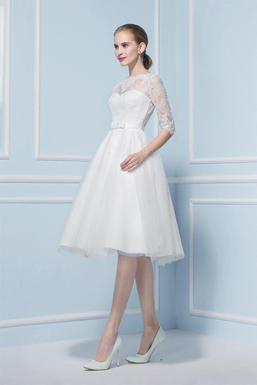 Exquisite Ball Gown Illusion Neck Half Sleeved Tulle Wedding Dress
