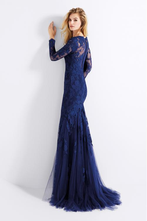 Long Sleeves Lace Appliques Navy Blue Mermaid Prom Dress