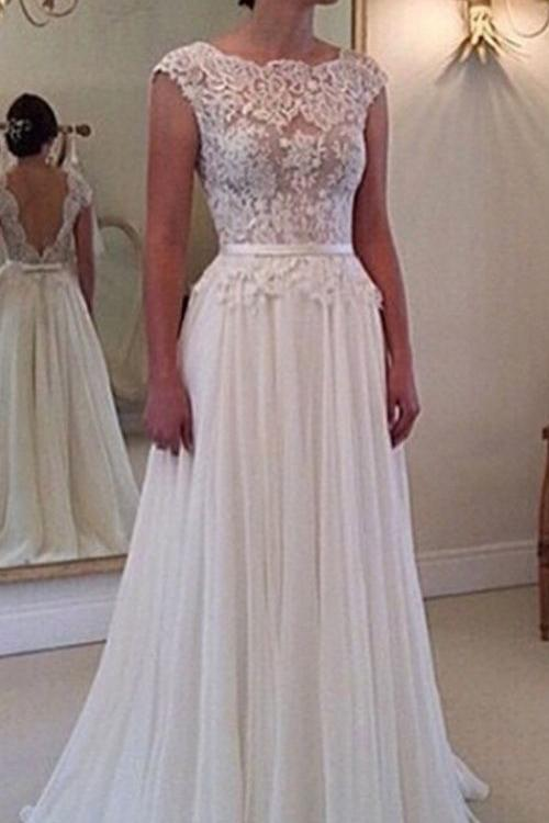 Beautiful Vintage Lace Bodice Long Chiffon Rustic Wedding Dress with Sash