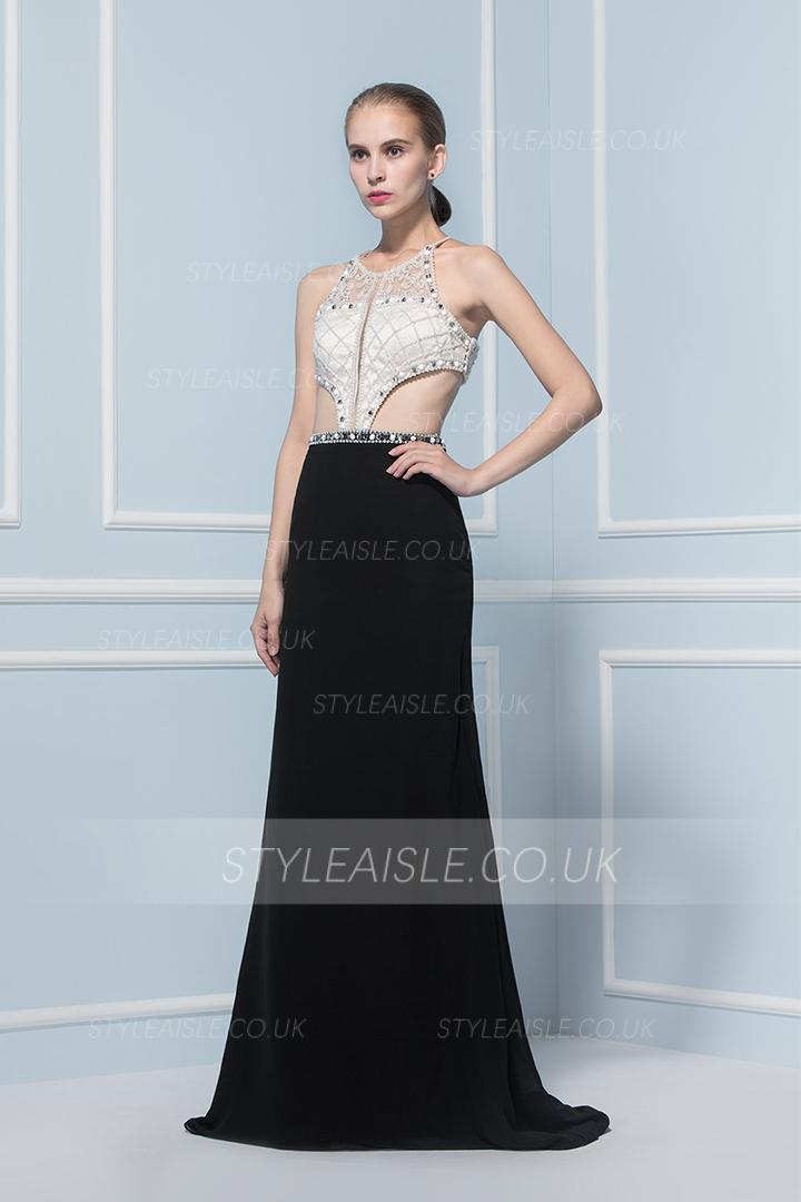 Halter Neck Beading Cut Out Long Black Chiffon Prom Dress