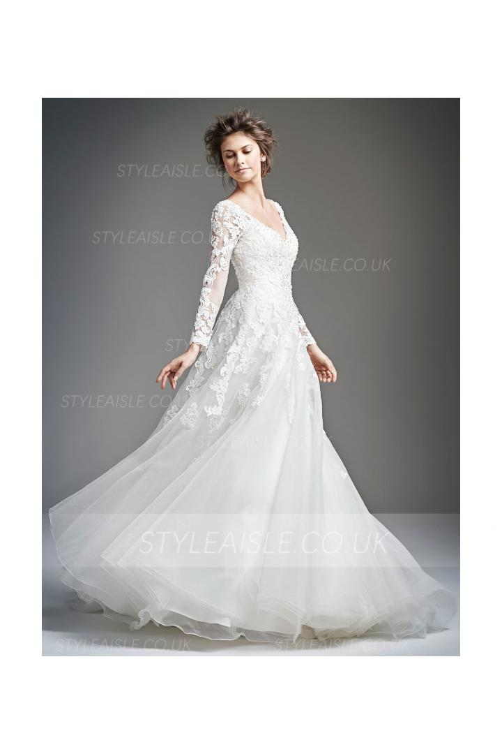 V Neck Lace Appliques Bodice A-line Organza Wedding Dress