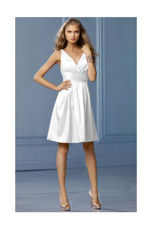 Lace A-line Natural Deep V-neck Sleeveless Bridesmaid Dresses