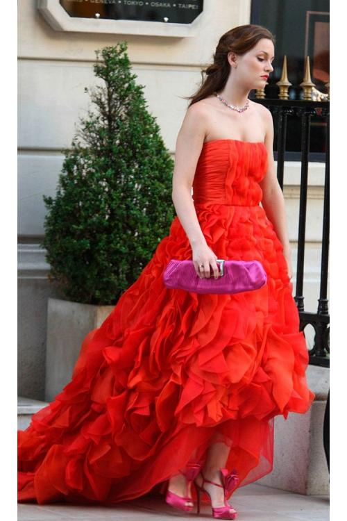 blair in oscar de la renta High Low Ruffles Chiffon Prom Dress